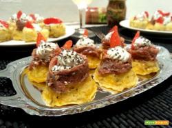 Polenta finger food con zucca e alici