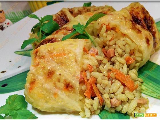 Involtini di verza con riso carota e prosciutto cotto