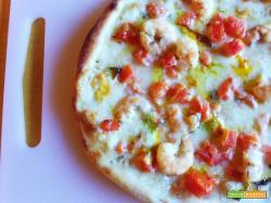 Pizza fiori di zucca e mazzancolle