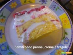 Semifreddo panna, crema e fragole