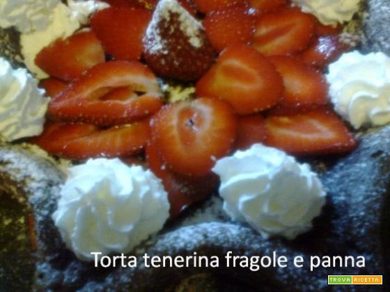 Torta tenerina fragole e panna