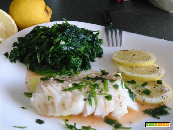 Merluzzo al limone Light e spinaci
