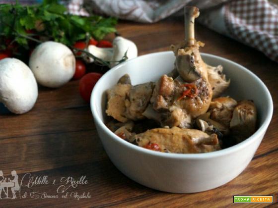 Pollo alla cacciatora con funghi