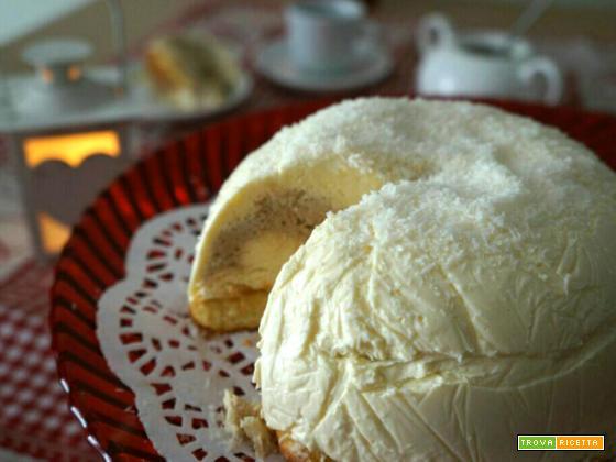 Tartufo bianco con cuore al caffè -torta gelato