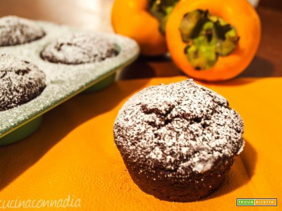Muffin con cachi e cacao senza burro e uova un dolce delizioso
