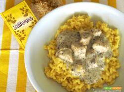 Risotto alla milanese con pollo alla crema di tartufo