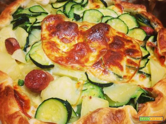 Tortino di patate, zucchine e scamorza affumicata