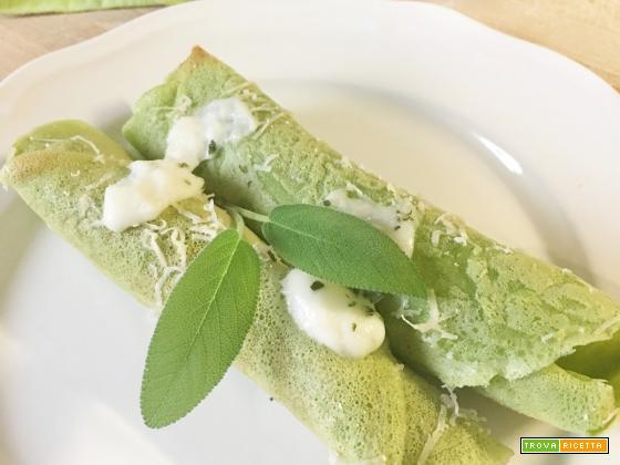 Crespelle con Farina di Piselli (senza uova e senza glutine) con Bucciatello Romagnolo ed erbe aromatiche!