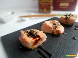Bocconcini di salmone scottato con riduzione al balsamico