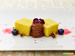 torta allo zafferano con cagliata al cacao
