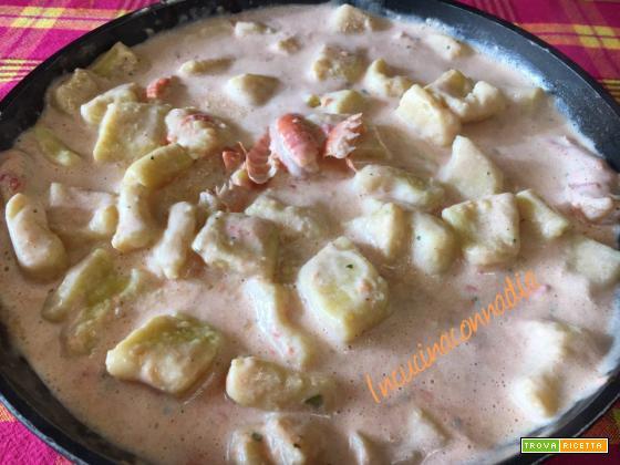 Gnocchi di patate con crema di scampi