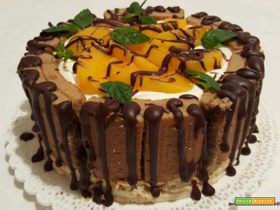 Torta Cheesecake Dolcetto Cacao Cream No Lactose Freddi con pesche e cioccolato