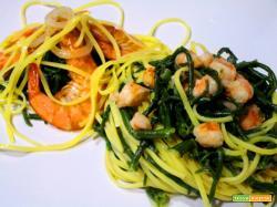 Tagliolini saltati con mazzancolle e asparagi di mare