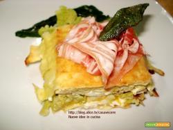 Timballino di zucca, broccoli, caprino e pancetta (per 4)