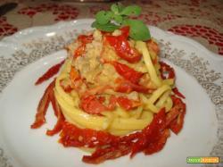 Troccoli al gorgonzola e pomodori secchi