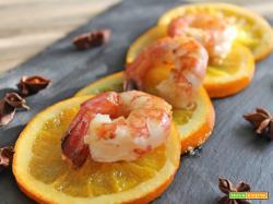 Gamberi con arance caramellate con zenzero e anice