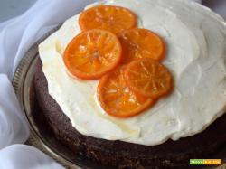 Torta al cioccolato e Earl Grey con frosting allo yogurt greco e mandarini