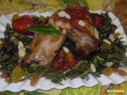 Rosticciana al forno, con contorno di cicoria e uvetta