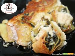 Crespelle integrali agli spinaci, gratinate con panna vegetale e formaggio grana