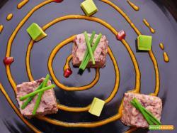 spirale cubica di fagioli alla zucca e avocado