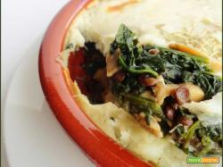 Sformato Lenticchie Funghi e Spinaci con Crosta di Patate