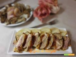 Pollo arrosto in crosta di pane e pancetta
