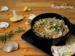 Zuppa di farro, funghi e patate