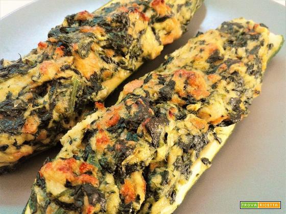 Zucchine ripiene di caprino e spinaci