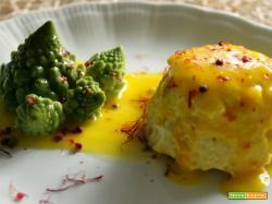Sformato di pesce – Sformatini di pesce persico e platessa su crema di zafferano