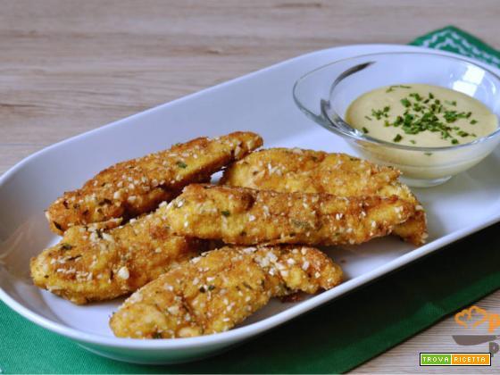 Bastoncini di pollo croccanti con salsa alla senape