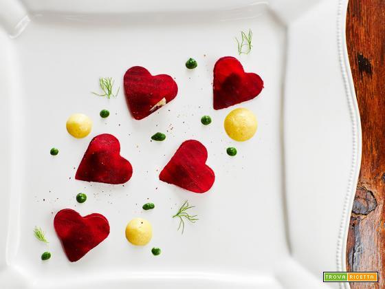 cuori di barbabietola con spinaci e zafferano