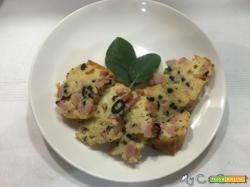 Tortino salato mortadella, formaggio e olive nere