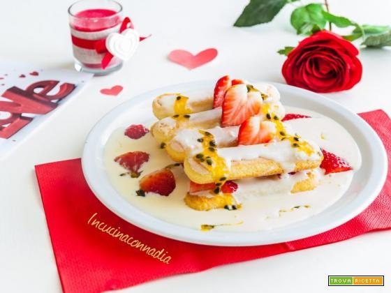 Savoiardi con crema al mascarpone fragole e frutto della passione