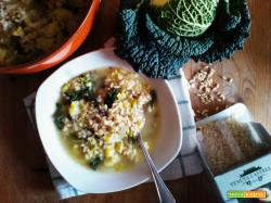 Minestra di Riso Integrale con Verza e Patate