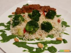 Riso basmati con crema di broccoli agli arachidi... con o senza spezzatino stufato di bovino