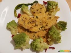 Filetti di merluzzo al forno e broccolo romanesco