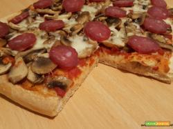 Pizza con funghi, mozzarella e salame strolghino