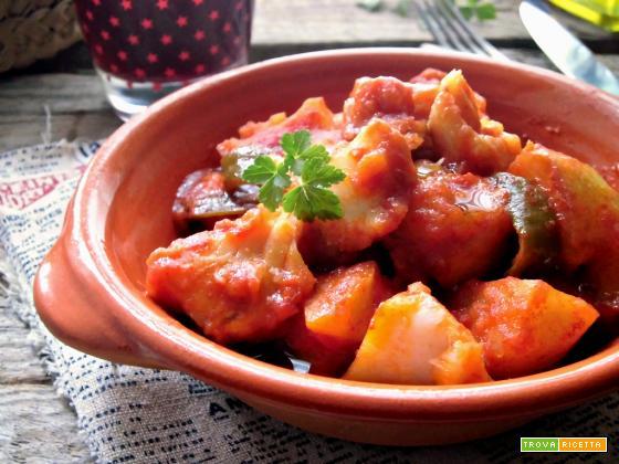 Baccalà in umido con patate e peperoni
