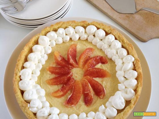 Torta con crema di arancia e ricotta di pecora