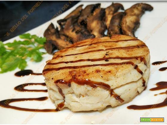 Medaglioni di pollo con funghi al balsamico