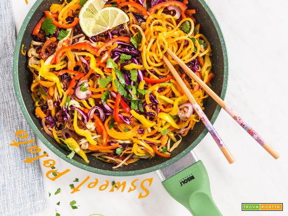 NOODLES di PATATE DOLCI e VERDURE SALTATE in PADELLA – Vegan Senza Glutine