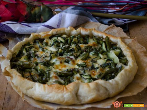 Torta salata con zucchine e fagiolini