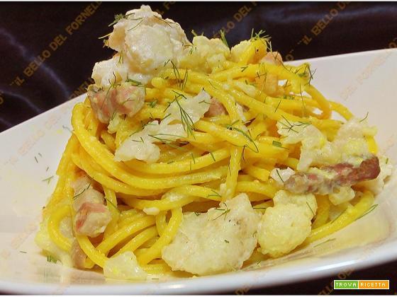 Spaghetti con cavolfiore bianco e pancetta al profumo di finocchio