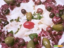 Baccalà in bianco con radicchio e olive