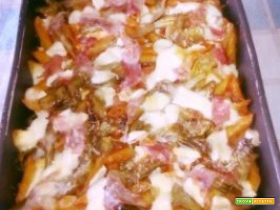 Pasta al forno con carciofi e prosciutto