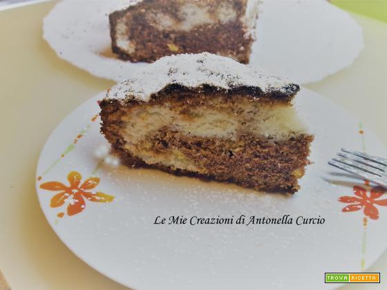 TORTA AL CACAO VARIEGATA AL COCCO SENZA GLUTINE E SENZA LATTOSIO