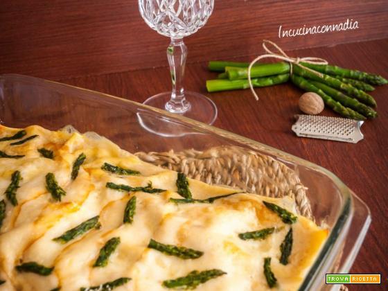 Lasagne con asparagi e prosciutto cotto