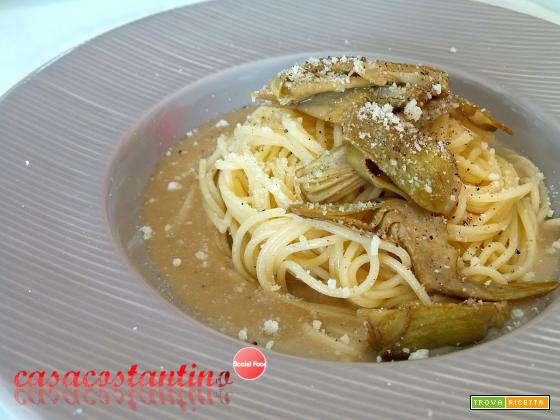 Spaghetti carciofi pecorino e crema di alici - Oggi cucina...Samanta