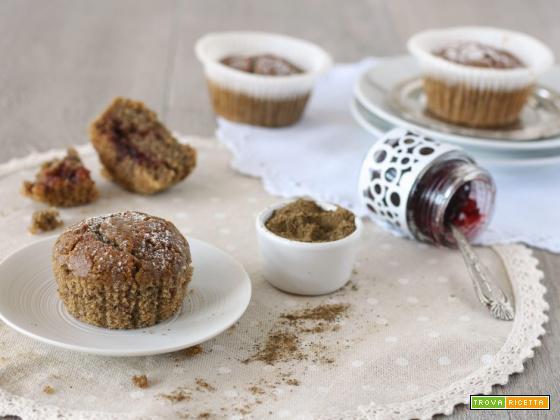 Vegan muffin alla farina di canapa e ciliegia