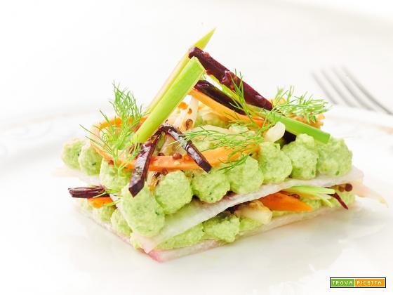 daikon con crema di aglio orsino e verdure alla senape